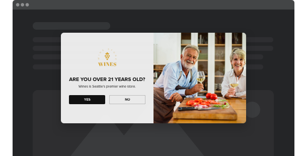 Altersverifikation Widget <br> für Website