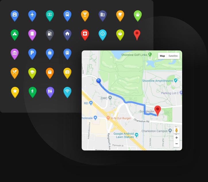 Unbegrenzte Markierungen und automatische Routen für mehr Besucher