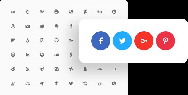 mit den Sozialen Netzwerken Icons Widget