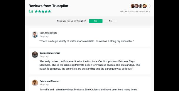 des Trustpilot Bewertungen Widgets  </br> für Ihre Homepage