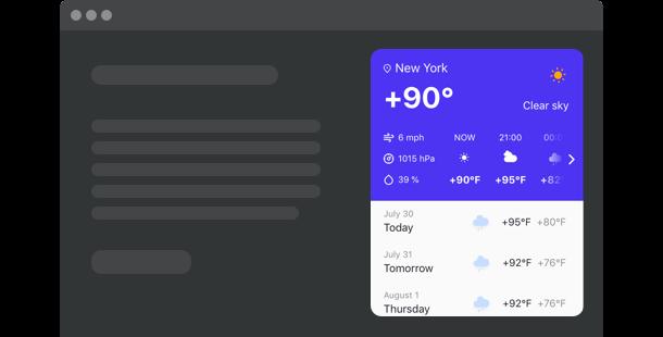 Sofortige Wettervorhersage auf Ihrer Website