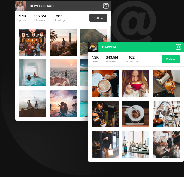 Bewerben Sie Ihr Instagram. Anhänger anziehen.