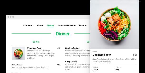 Speisekarte App <br> für die Website