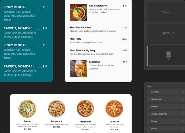 Einfach zu verwaltende Speisekarte in wenigen Klicks