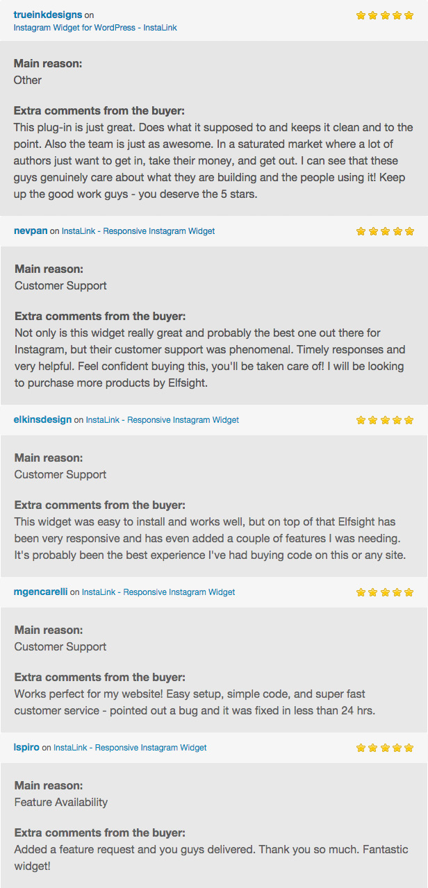 Customer Reviews on InstaLink