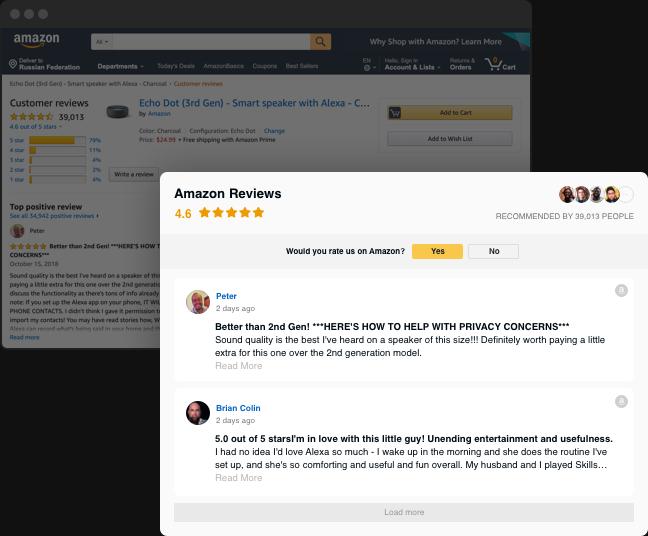 Reseñas de Amazon en su sitio web