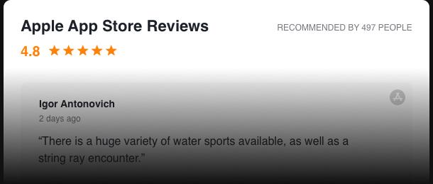 Reseñas de la App Store en tu web