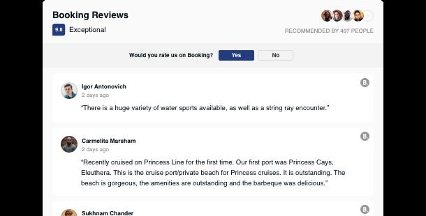 Reseñas de Booking.com en su sitio web