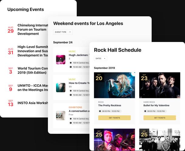 Muestre sus eventos, calendario, horario, agenda