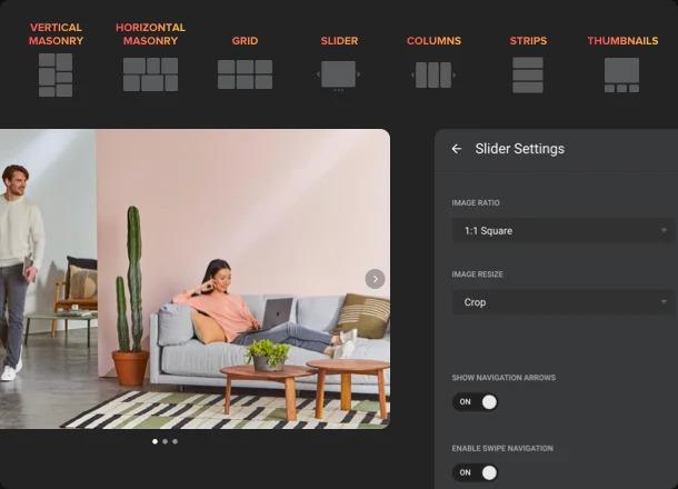 Varias opciones para configurar una galería única