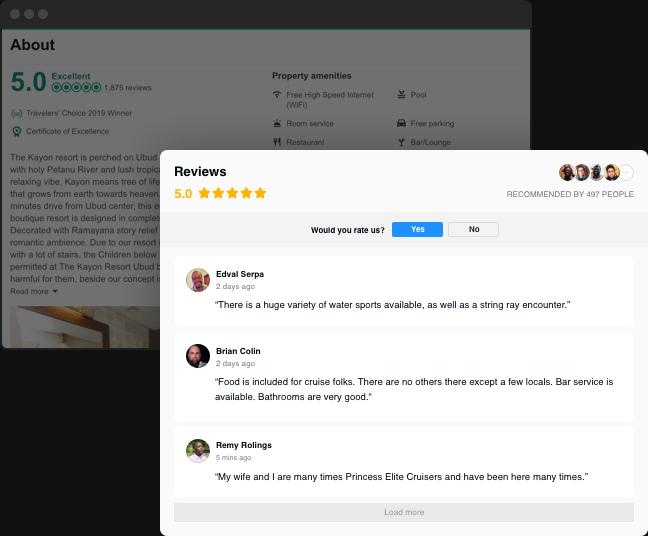 Sus reseñas de Tripadvisor en su sitio web