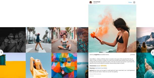 Flux Instagram<br>sur le site web