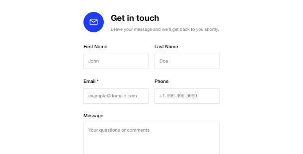 widget de Formulaire de contact pour le site web