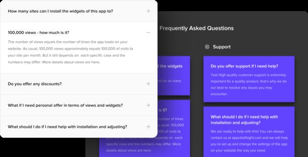 Widget FAQ accordéon <br>pour le site Web