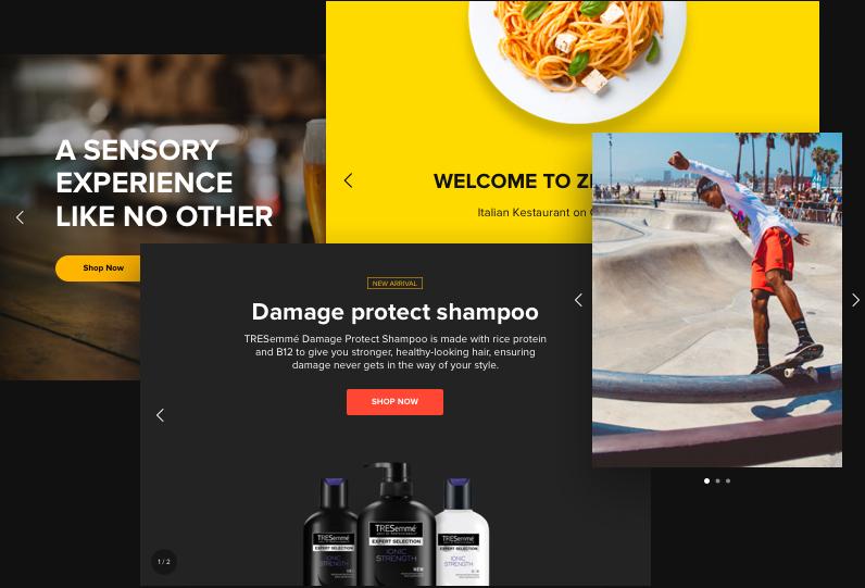 Tous les types de sliders pour votre site Web. Facile et rapide.