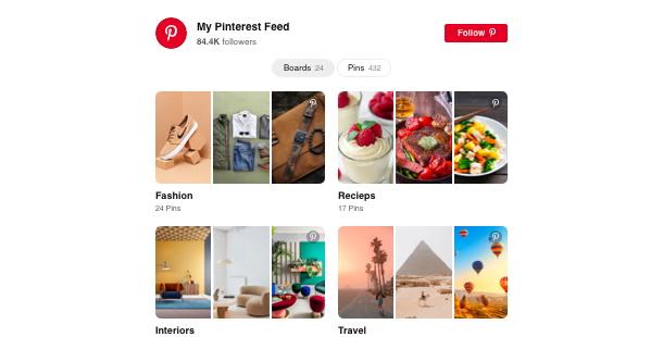 widget de flux Pinterest pour site Web