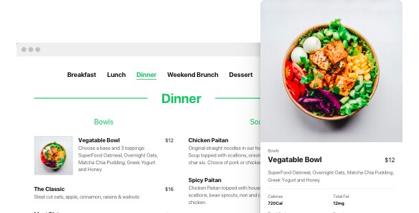 Widget de menu de restaurant pour le site web