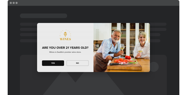 Age Verification widget <br /> per il sito web