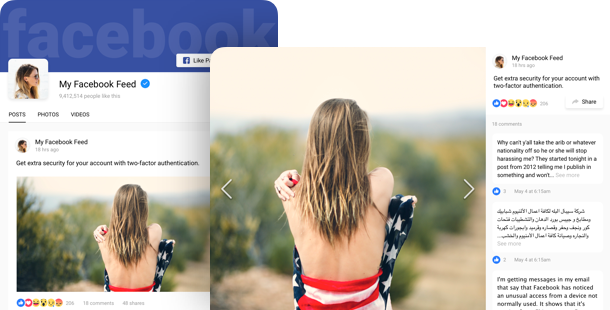 Facebook Feed widget <br /> per  sito web