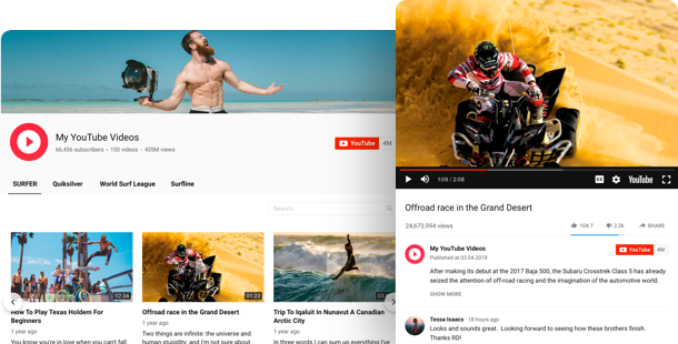 YouTube Channel widget <br /> per siti web