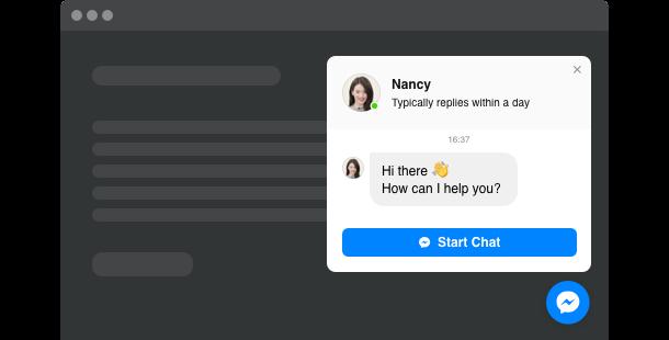 Widget di Facebook Messenger chat <br> per il sito web