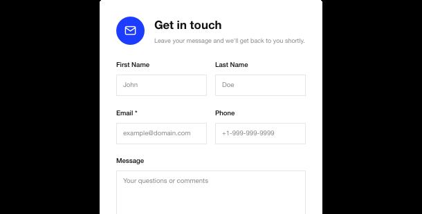 Widget Contact Form </br> del sito web