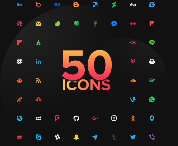 Aggiungi un numero qualsiasi di icone tra le 50 disponibili
