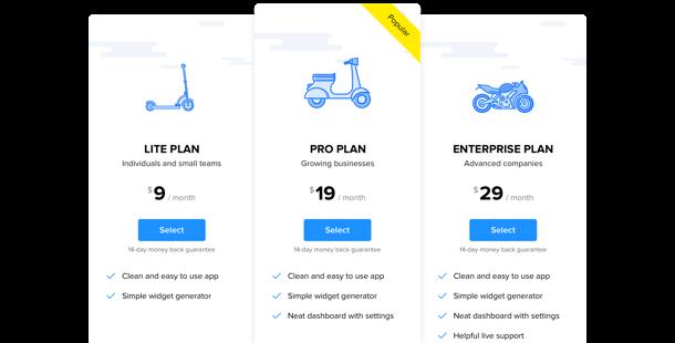 ウェブサイトの価格表ウィジェット