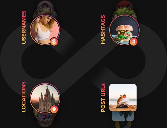 ユーザー名、ハッシュタグ、ロケーションを組み合わせた写真