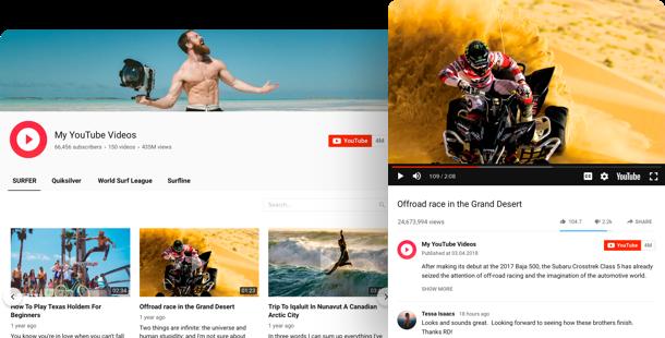 YouTube виджет каналов и видео для сайта