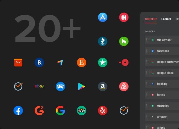 Продемонстрируйте свои отзывы с 20+ площадок