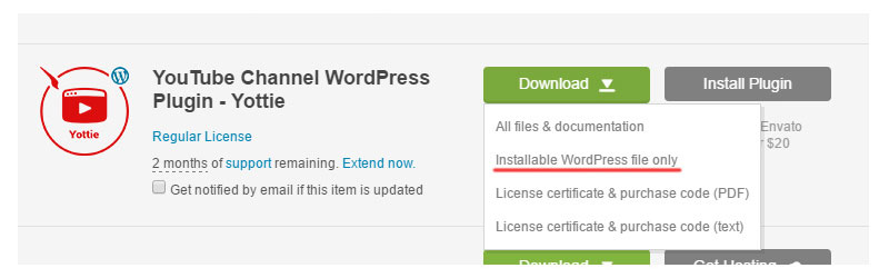 Download the installable WordPress file only