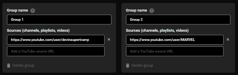 YouTube Several Groups