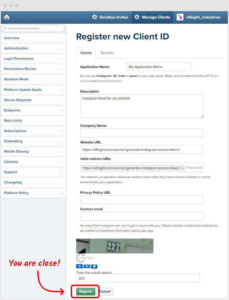 Register New Instagram Client ID
