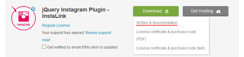 Download InstaLink jQuery Files