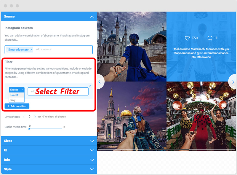 Instagram Feed Filter Option
