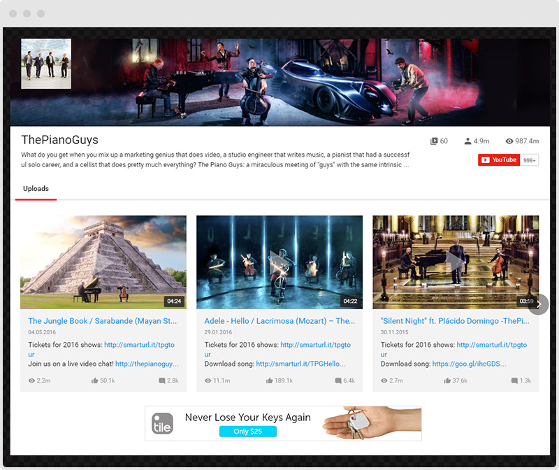 YouTube Plugin AdSense Gallery Example