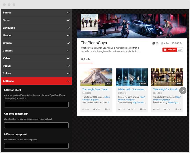 YouTube Plugin AdSense Tab