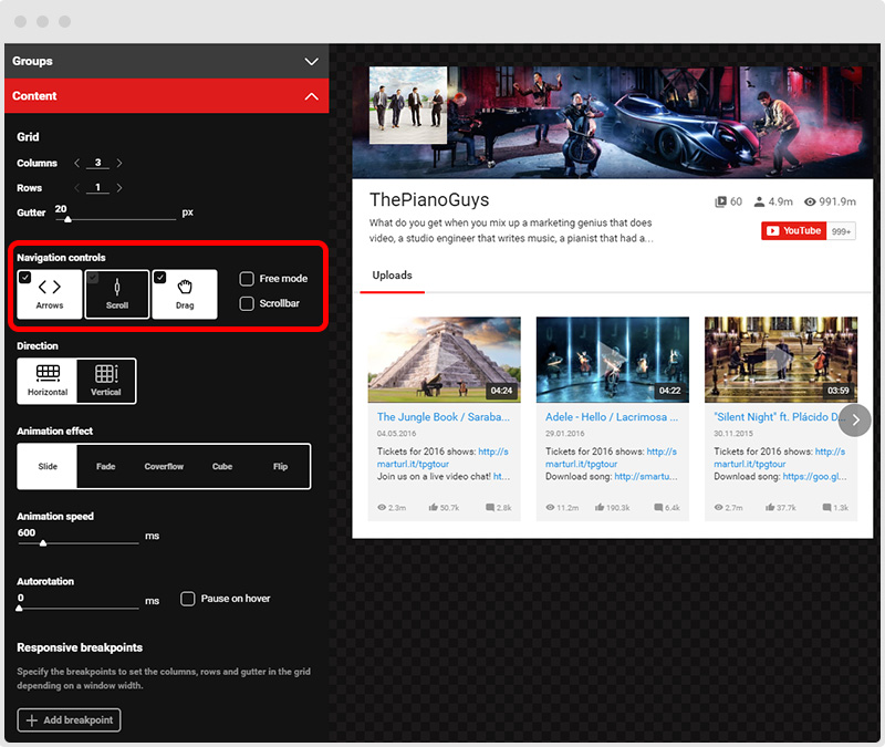 YouTube Plugin Navigation Controls