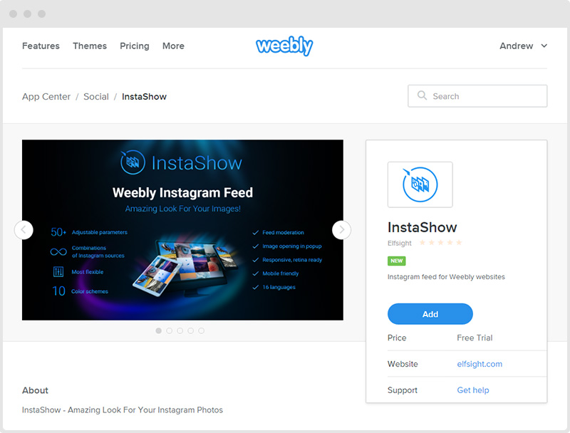 Instagram Feed Weebly Page