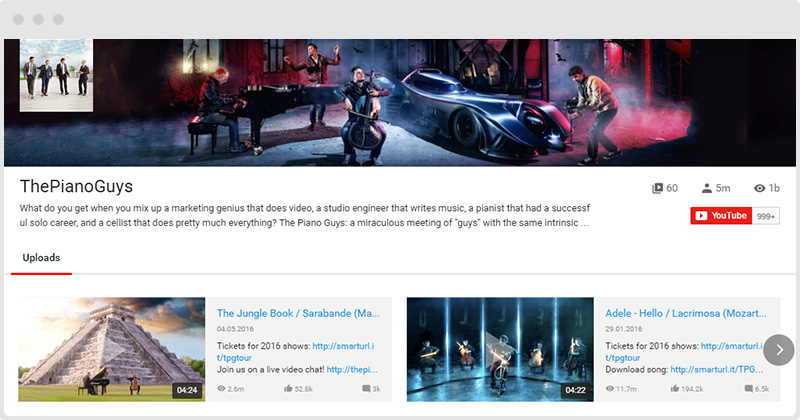 YouTube Plugin Horizontal Layout