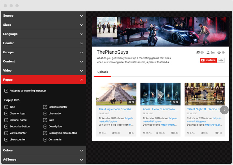 YouTube Plugin Popup Tab