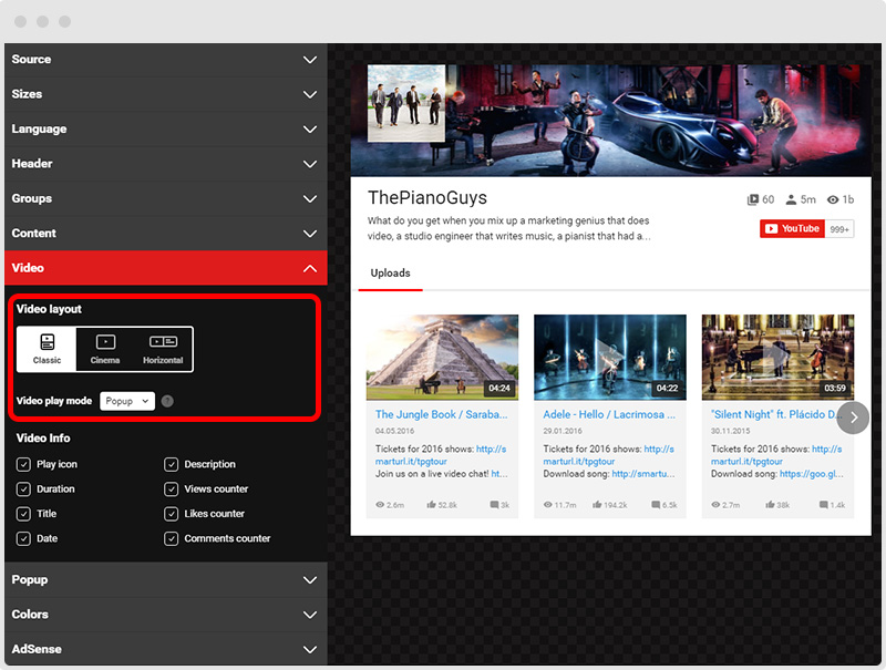 YouTube Plugin Video Layouts