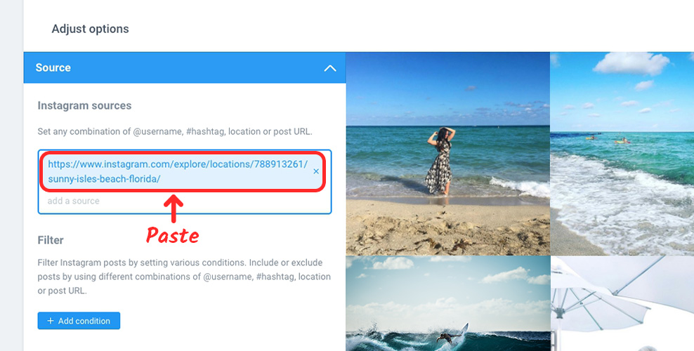 How to display instagram images by location in instashow elfsight paste the locations url into source field on instashows settings page ccuart Images