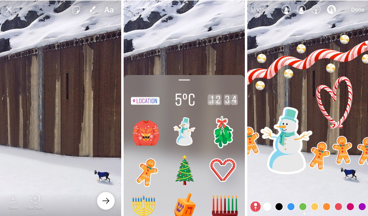 Holiday Instagram stickers