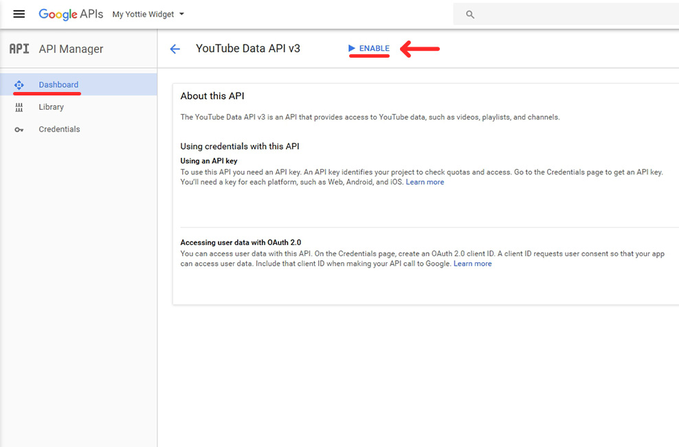 How to get YouTube API key - Elfsight
