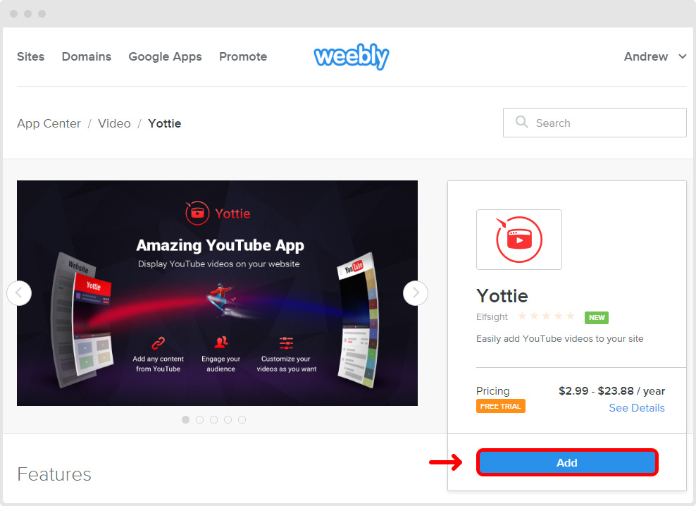 Weebly YouTube App Center