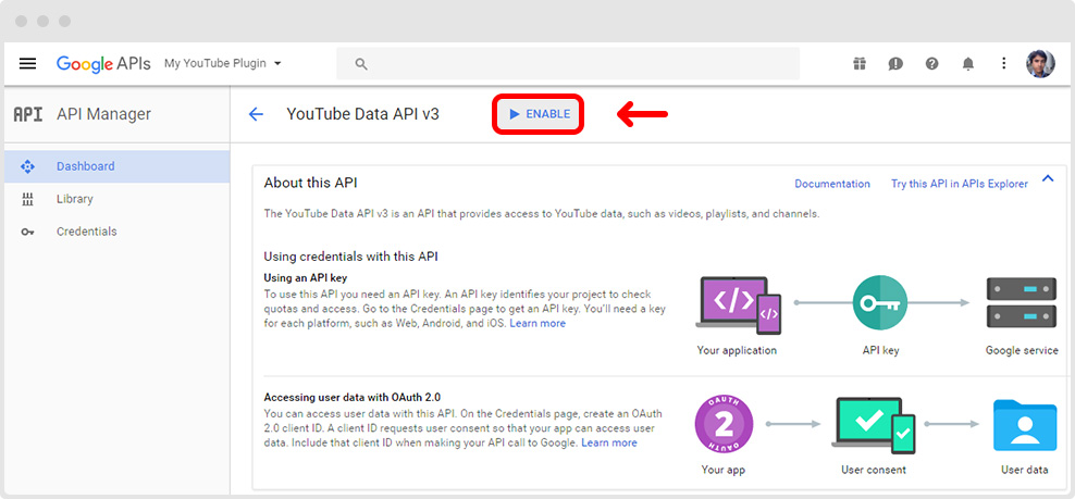 YouTube Data API Enable