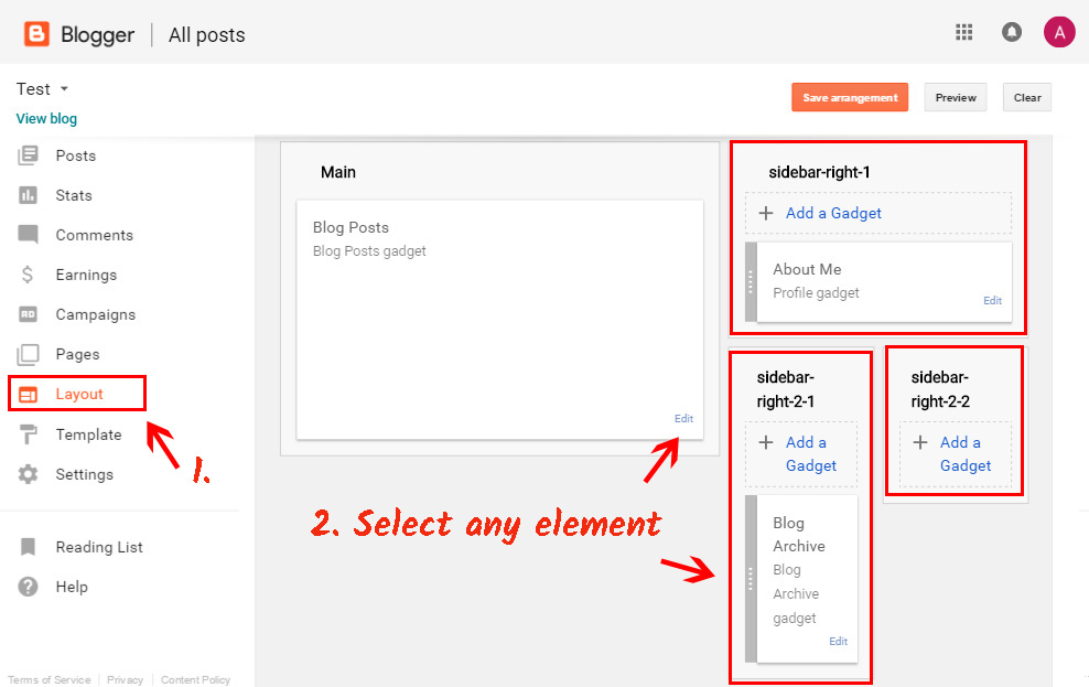 Go to layout tabs on Blogger