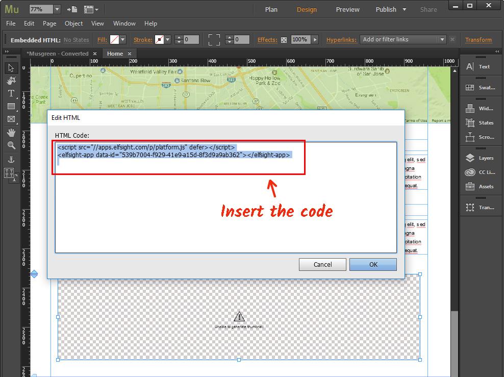 Paste widget code
